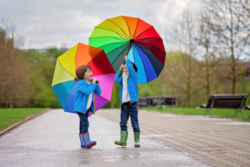 Kids dancing in the rain
